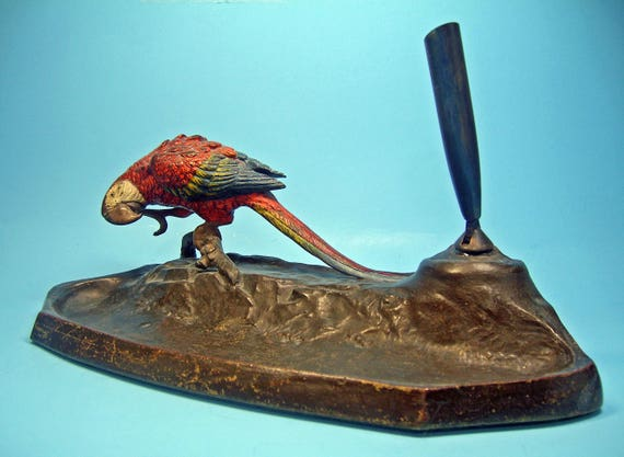Antique Austrian Cold-painted Bronze Scarlet Macaw Parrot Bird Pen Set