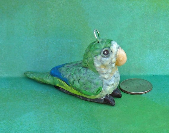 Hand-sculpted One-of-a Kind Sally Blanchard's Tongue-in-Beak Collectible Miniature Quaker Parakeet Parrot Christmas Tree Ornament