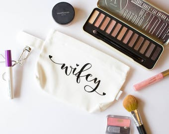 Wifey Makeup Bag | Engagement Gift | Bridal Shower Gift | Clutch | Cosmetic Bag | Travel Makeup Bag | Toiletry Storage | Make up bag