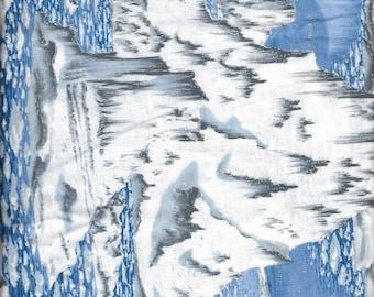 "New Snowy Arctic Glaciers in Water Scenic 100% Cotton Fabric 1 yard 18"" x 44"" piece"