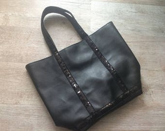 Black leather look tote bag / black shopper/ sequins bag / black leather look handbag