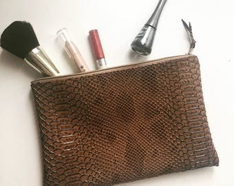 SALES cosmetic bag / brown leather look clutch / snakeskin clutch/ large cosmetic bag