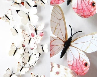 12 butterflies, 3D, white, patterned