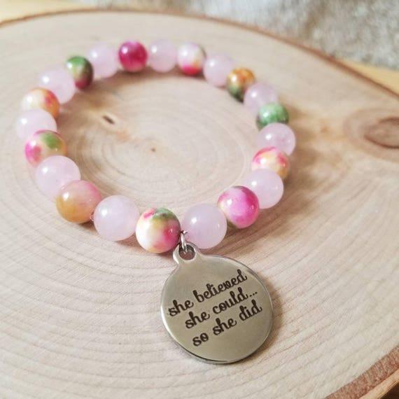 Believe: Reiki Attuned Rose Quartz and Jade Healing Bracelet