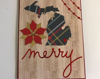 Green Plaid Michigan State Merry Christmas with Poinsettia Greeting Card