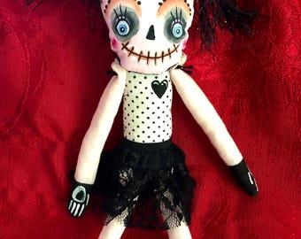 Black heart mixed media art dark doll gothic
