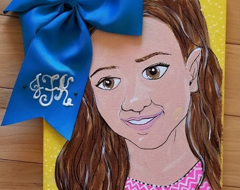 I Like Big Bows Monogram Playroom Portrait -- Original Custom Painting