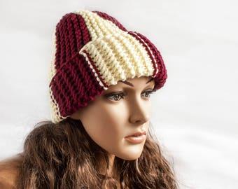 Womens Hat Sport Knit Hat Slouch Beanie - Slouchy Hat - Beige Red Beanie Womens Accessories Winter Hat