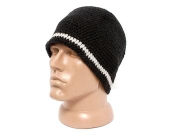 Black Mens Wool Knit Hat Slouchy Beanie Knit Warm Hat Men's Men Hat Black Cap Boys Chunky Wool Black Hat Mens Winter Beanie Teenager