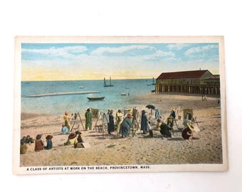 Provincetown Postcard - Vintage Original Unused Postcard - Ptown - Artists on the Beach - Cape Cod - Artist Colony Provincetown - Cape Cod