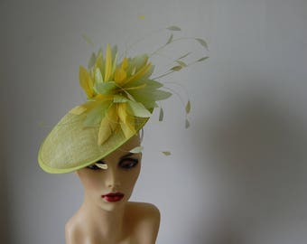 Two tone Lemon & Lime feature fascinator