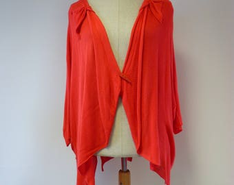 Special price. Boho red cotton cardigan, XXL size.