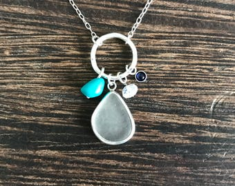 Sea glass pendant, sea glass necklace, Cornish Seaglass pendant, gift for girlfriend, mermaid necklace, ocean lover, recycled necklace,