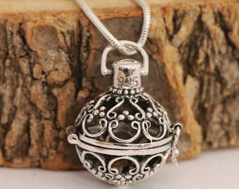 925 Sterling Silver Prayer Box Locket Pendant With Snake Chain Necklace, Comes with Gift Box