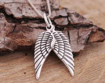 Sterling Silver Embraced Paired Angel Wings Pendant Necklace, Antiqued 3D Wings, Silver Wings Charm Necklace,Comes with Gift Box