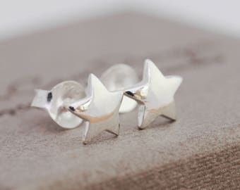 Sterling Silver Star Earrings|Wishing Star Earrings|Sterling Silver Wishing Star Stud Earrings, Star Studs|Silver Star Earrings|Gift for Her