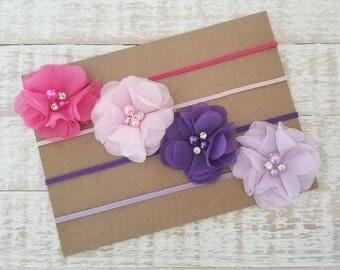 Newborn Headband Set - Baby Headband Set - Purple Headband - Pink Headband - Newborn Headband - Baby Girl Headband - Headband Set - Pink Bow