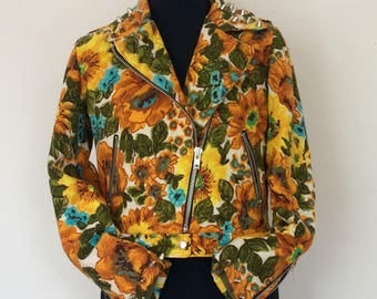 sunflowers and studs biker jacket in a UK size 10/12 or 36