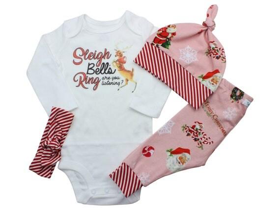 Reindeer Sleigh Bells Bodysuit Santa Baby Outfit Girl Santa Outfit Vintage Style Santa Baby Leggings Reindeer Shirt Christmas Song Shirt