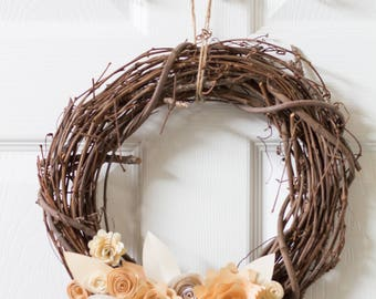 Handmade Paper Flower Wreath - Peach and Pale Yellow Handmade Paper Flower Wreath Springtime decor
