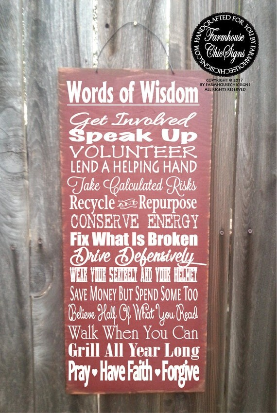 Words of Wisdom Sign