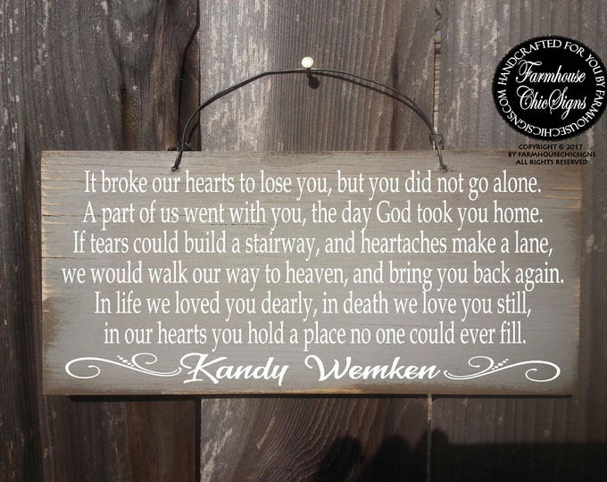 memorial sign, condolence gift, sympathy gift, personalized memorial, personalized sympathy gift, personalized funeral sign