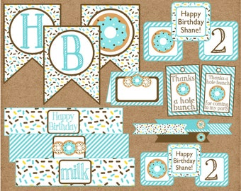 Donut Birthday Party DecorationPackage. Blue Donut Package for Boy Donut Party or Baby Shower. Printable Party Package. Blue Donut Sprinkle