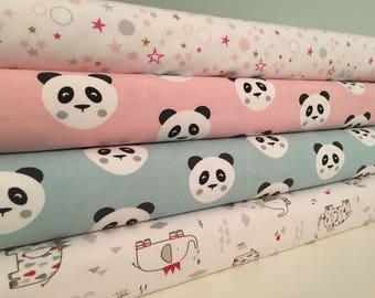 Cotton Jersey Stretch Fabric **Panda Elephant Stars** Baby Nursery Children**