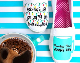 Stranger things, coffee, mornings are for coffee and contemplation, womens shoes, teen girl, hand made, colorful, gifts under 50