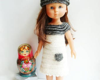 Perline Chéries - PDF crochet pattern to make a doll or tunic + matching hat for Les Chéries Corolle and other 13 inch dolls