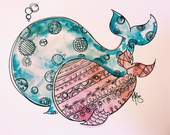 11x14 Whale Watercolor