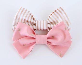 Twinkletoes Ballet Pink & Rose Gold Stripe Criss Cross Hair Bow // Rose Gold Hair Bow // Nylon Headband or Clips // Girls Hair Bow