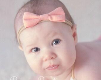 Peach baby headband, infant headband, newborn headband, peach hair bow headband, photo prop, peach flower, peach headband, baby hair band