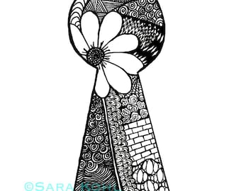 Through the Keyhole Zentangle Print