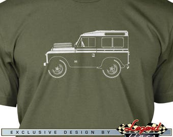 Land Rover Series 1, 2, 3 T-Shirt for Men - Lights of Art - Multiple colors available - Size: S - 3XL - Great British Classic Car Gift