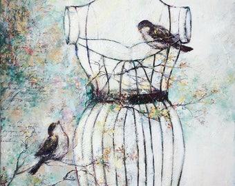 Original painting woman unique cage Kim Normandin texture background nature bird lace