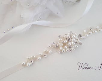 Bridal Sash - Wedding Dress Sash Belt - Pearl and Rhinestone Ivory Sash - Ivory Rhinestone Bridal Sash, Style 795