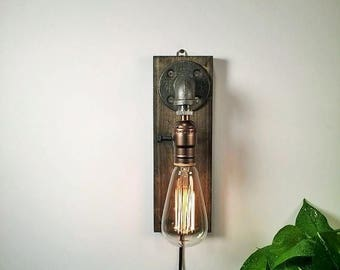 25% OFF SALE Unique all Lamp - Sconce - Wall Light - Steampunk Lamp - Edison Lamp - Vintage Light - Industrial Pipe Lamp - Bedside Lamp - Lo