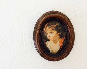 Klein doekje in lijst | zigeunerkindje| vintage wall deco| gypsychild| 70s decor| small wall hanger
