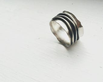 Silver Wide Band Ring - Flared Ring Band - Wave Ring - Fluted Ring - Sterling Silver - Contemporary Jewelry