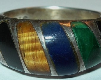 Mexican Sterling Band Ring Onyx Malachite Lapis Tiger's Eye Size 7.5 TL-17
