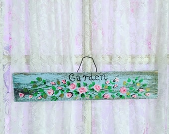 Beautiful Hand Painted  Garden Sign Made Out of Perfectly Aged Pallet Wood  Shabby Chic, Garden, French, Beach Decor