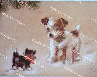 Vintage Christmas Card - Marjorie Cooper Puppy and Kitten - Unused