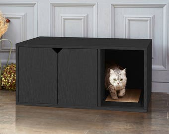 Eco Friendly Cat Litter Box - Black Wood Grain Cat Furniture (PET-LITTER-BK)