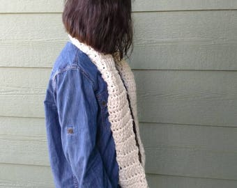 Scarf beige cream off white chunky Crochet infinity scarves, neck warmer, Fall Winter Accessories