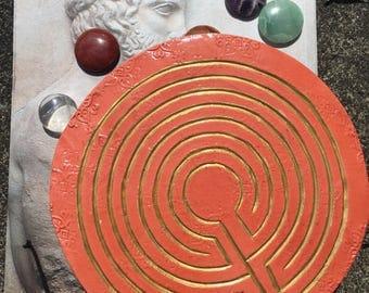 Tabletop Finger Labyrinth for Meditation - Terracotta