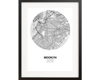 Brooklyn Map Poster in Black and White Print