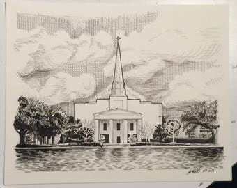 Charleston Southern Original Pen & Ink Drawing