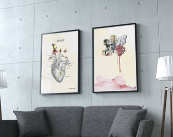 Anatomy Art Prints, Anatomy Art Print Set Medical Student Graduation Gift, Gift Set, Wall Decor Set,