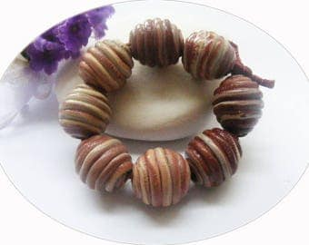 Pearls swirl polymer clay and resin set of 8